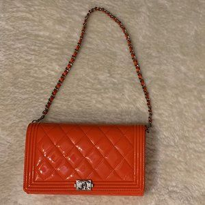 Quilted Patent Chanel Boy Wallet on Chain
